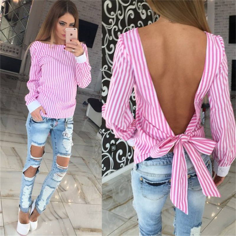 Cute Women Blouses Fashion Big Bow Pink And White Striped Open Back Sexy Blouse Long Sleeve Shirt Women Clothes