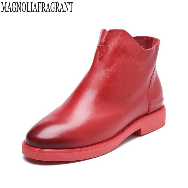купить autumn winter new fashion Side zipper Handmade genuine leather boots womens winter boots women Ankle boots women shoes k474 по цене 2583.74 рублей