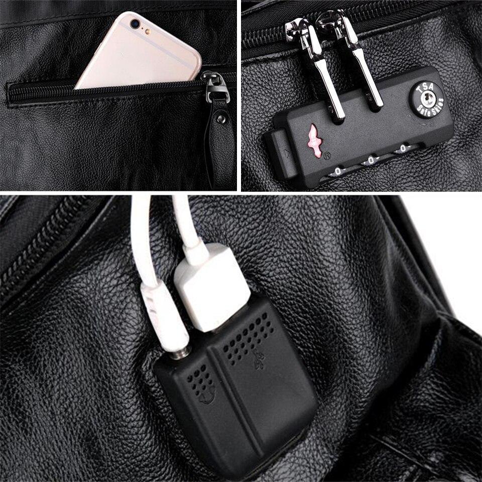 17 pouces ordinateur portable 15.6 PU cuir sacs à dos Anti-vol hommes mode sac à dos dos Packs voyage étudiant sacs chaussures USB musique sac à dos - 6