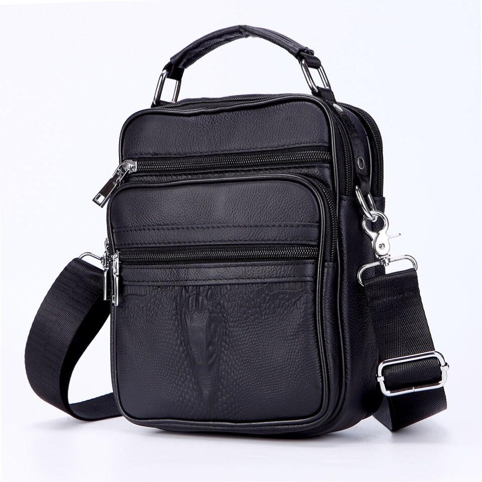 High Quality Men Crocodile Head Handbags Mini Genuine Leather Men's Messenger Bags Male Small Briefcase Boy Leather Bag