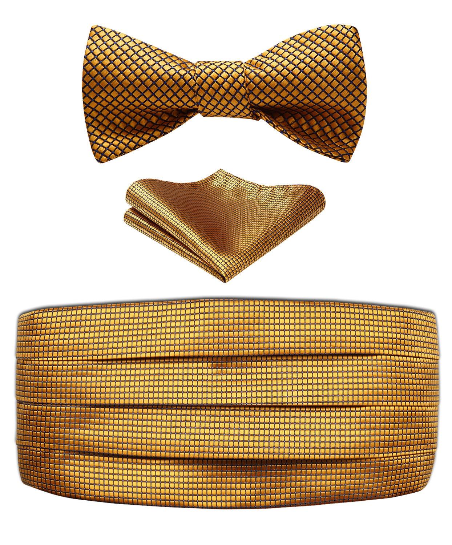 Fashion Patterns Bow Tie Set Men's Classic Cummerbund & Pocket Square& Various