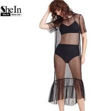 SheIn Summer Beach Dress Women Black Ruffle Hem Sheer Dotted Mesh Dress Ladies Short Sleeve High Low Sexy Midi Dress