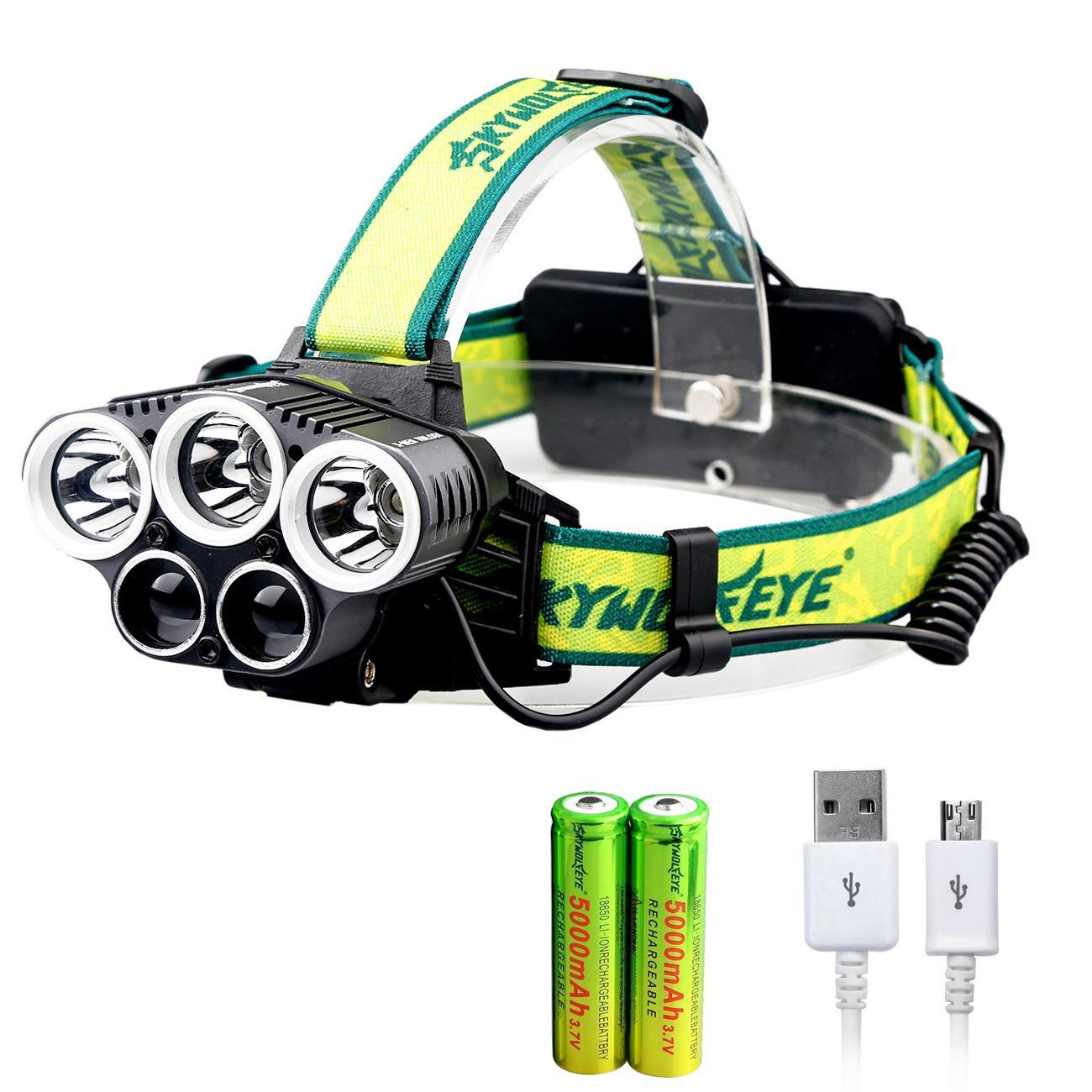 Skywolf Headlight Headlamp Torch 50000LM LED USB Rechargeable Bright Camp 18650
