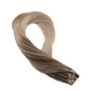 Moresoo Remy Hair Extensions Human Hair Tape in Hair Brown Mixed With Ash Blonde #4/18/18 Skin Weft 20PCS 50G Glue Hair