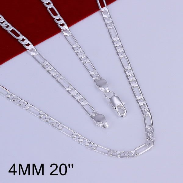 N102-20 Hot sale fine silver plated 925 jewelry Wholesale Factory price charm free shipping fashion 4mm Necklace-20 inch
