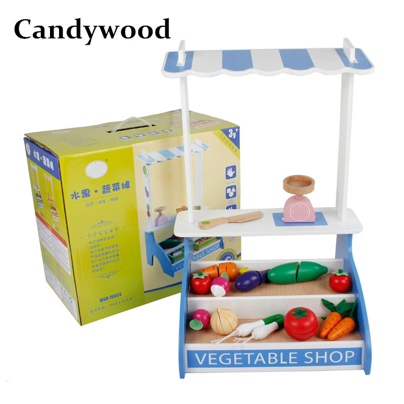 Candywood Wooden Fruit/Vegetable Store Educational toys Cut Kitchen Toys for Kids Baby Role conversion toys girl&boy gift Set candywood mother garden baby kids wood kitchen cooking toys wooden kitchenette gas stove educational toys for girl gift