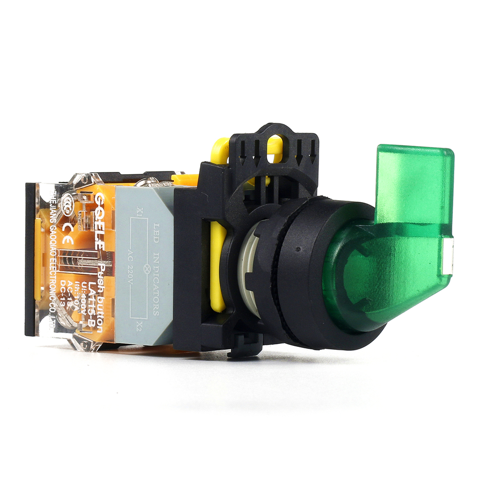 5 PCS Push button switch Selector switch Short handle 2-Position LED Latching Waterproof IP65  LA115-B2-11CXD-R31 la38 20xb 3 position selection push button switch long handle latching switch ac220v dc24v