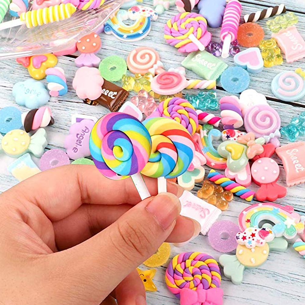DIY Slime Accessories And Storage Bag,Phone Case Decoration For Slime Filler Miniature Resin Model Flowers Candy Kids Toy