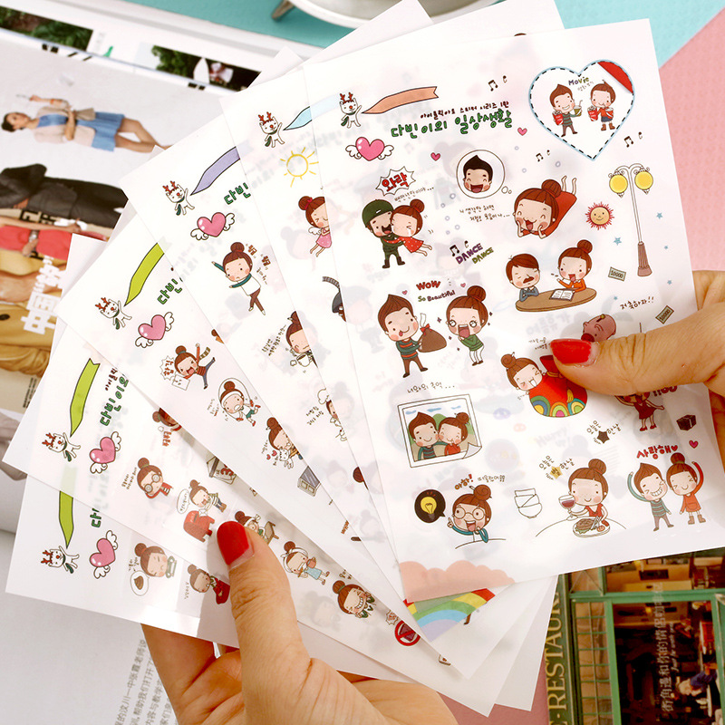 6sheets/pack New Amorous Girl Transparent Diary Deco Post It Note Kawaii Toy Stickers Sticky Notes Decoration Label