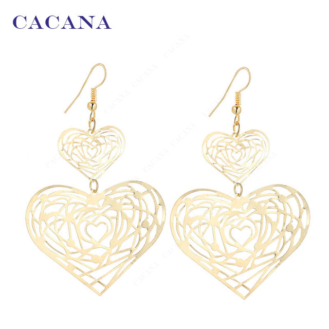 CACANA Dangle Long Earrings For Women Loverly Double Heart Top Quality Bijouteri
