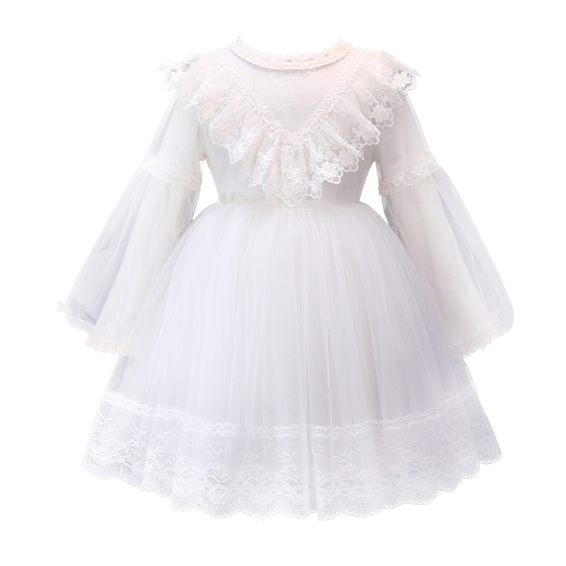 white Ruffle Flower Girl Dress 2019 Appliques Nude Lining Tulle Princess Communion Dress Kids Baby Prom Gowns