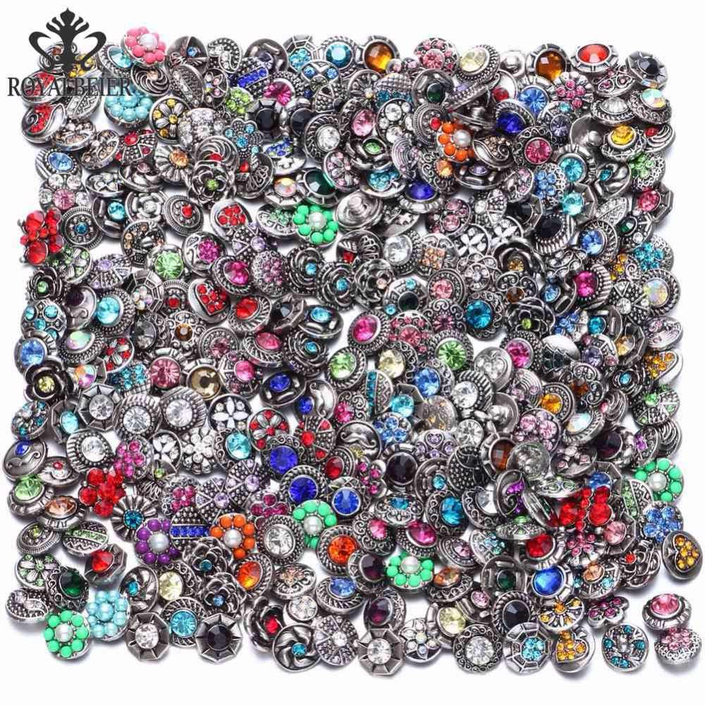 Royalbeier New 20pcs/lot Mixed Rhinestone Styles Metal Charms 12mm Snap Button Jewelry For Snaps Bracelet DIY Snap Jewelry