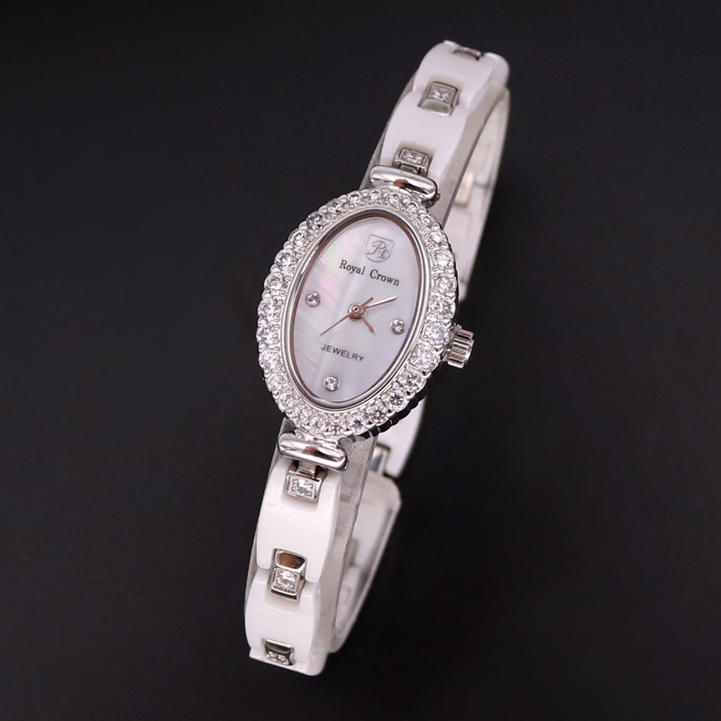 Luxury Ceramic Jewelry Lady Women's Watch Fine Fashion Hours Mother-of-pearl Bracelet Rhinestone Girl's Gift Royal Crown Box lady of magick