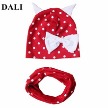 DALI 2018 Spring Baby Caps Cotton Baby Hats Dots Bow Knot Baby Beanie Hat Scarf Children Winter Cap Cotton Child Hat Scarf Set