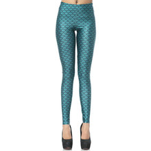 1069 Fitness Elastic Women Leggings Sexy Girl Polyester Slim Fit Workout Pants Trousers Blue Mermaid Scale fashion Printed