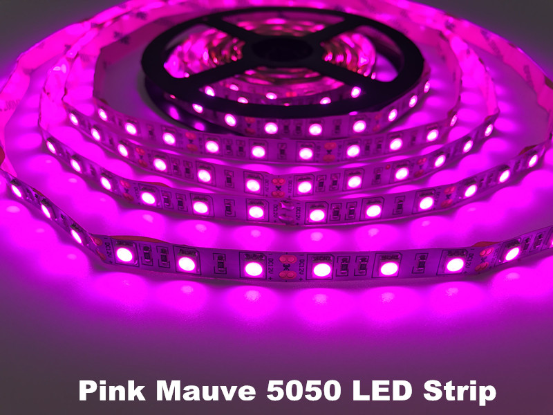 Pink Mauve 5050 Flexible Led Strips DC12V 5meter 300led Purple Light 12w/m Non-waterproof IP20