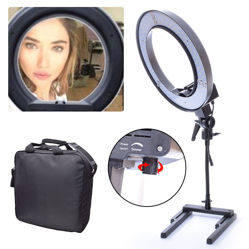 Diva Dimmable 40W 34cm LED Table Top Ring Light for Youtube Video Photo Makeup Beauty Lighting Selfie 40w daylight 5600k fluorescent ring lamps light for video photo selfie makeup lighting photo ring light photographic lighting
