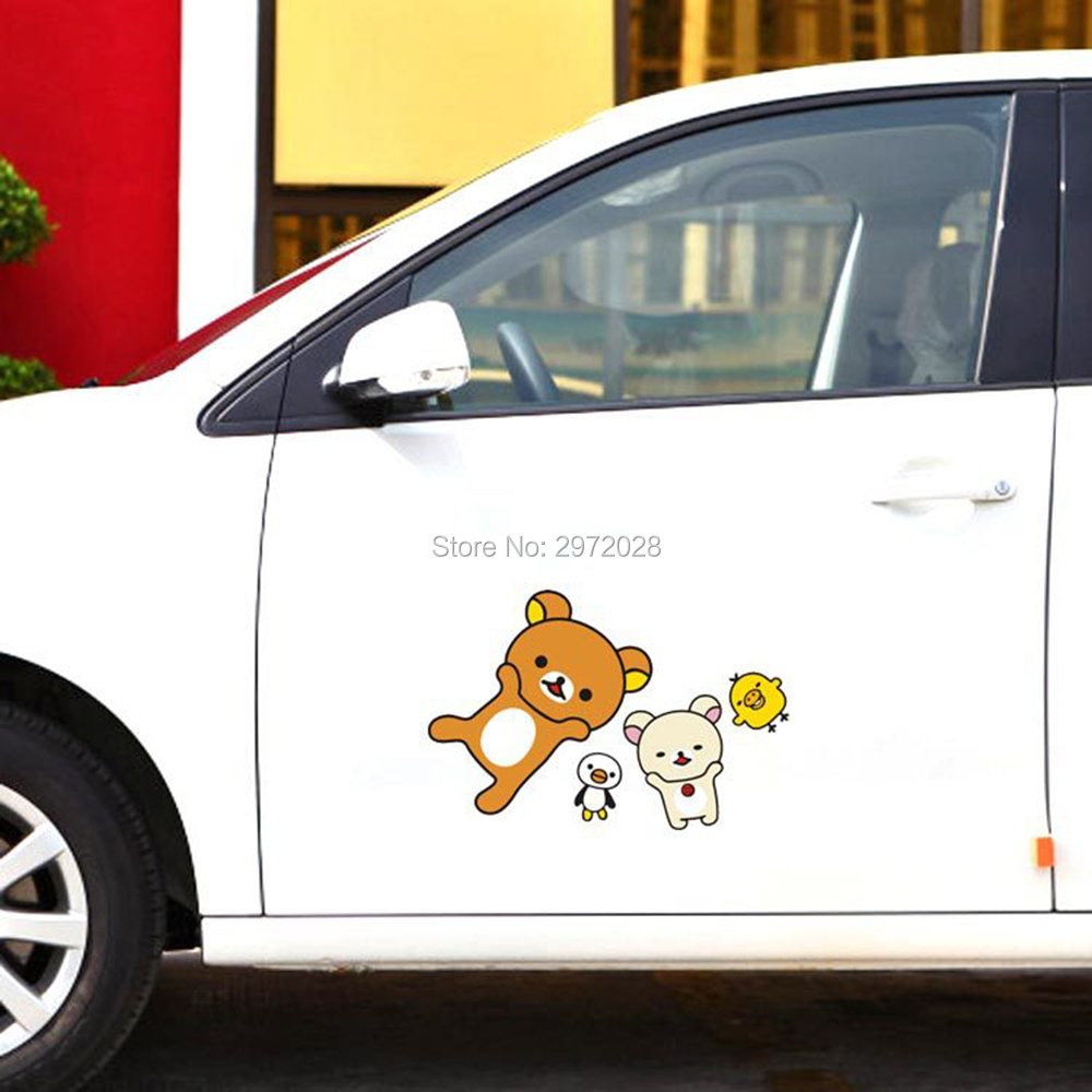 Newest Funny Design Cartoon Car Styling Lovely Bear Rilakkuma With His Friends Decorations Car Whole Body Stickers Decal Vinyl image