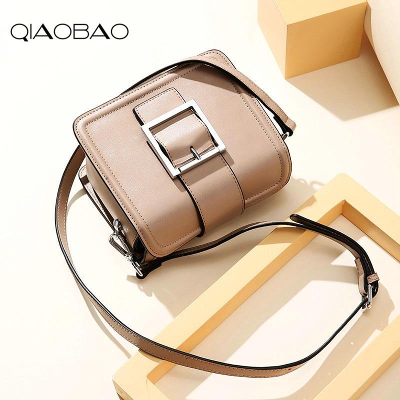 QIAOBAO 100% Cowhide Leather Small Flap Bag Mini Square Bag Famous Brand High Quality Fashion Lady Messenger Bag Hasp Bag famous brand bag 100