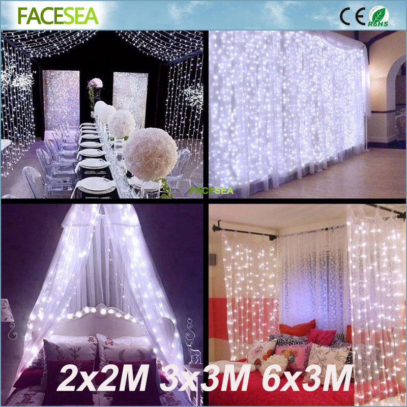 High quality 3x3/6x3m LED Icicle String xmas Christmas Fairy Lights head wire long Outdoor Home For Wedding/Party/Curtain/ Decor globe fairy string bulb lights for indoor outdoor wedding christmas xmas thanksgiving party events home roof decor colorful