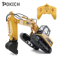 Pokich 1:14 RC Truck Excavator Remote Control Crawler Tractor 15 Channel 2.4G Construction Engineering Vehicle Digger Toys D