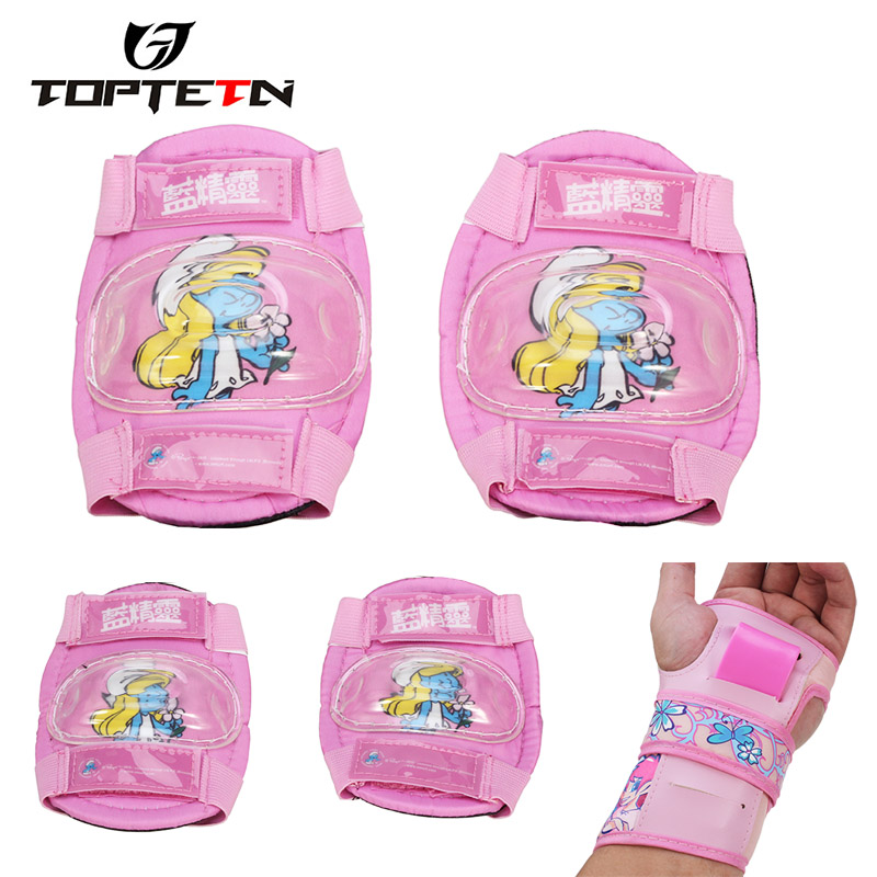 TOPTETN Kid Roller Skating Skateboard Elbow Knee Pads Wrist Protective Adjustable Guard Gear Pad Children Cycling Bicycle Sports