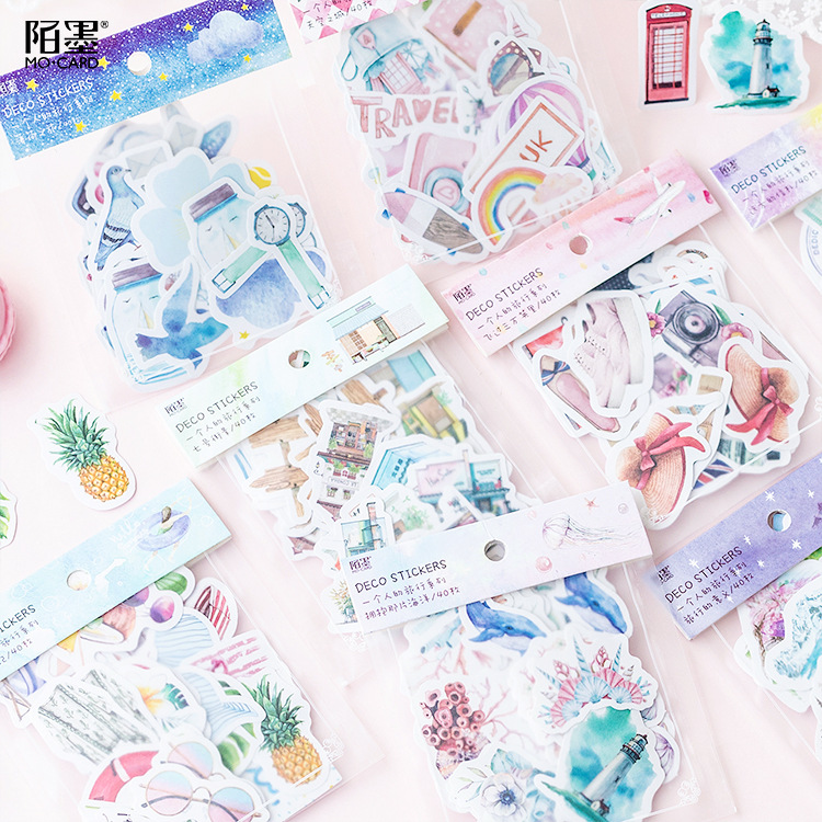 40pcs/pack Travel Alone Japanese Paper Kawaii Cute Custom Diary Flower Stickers Scrapbooking Flakes Stationery School Supplies 6 sheets pack kawaii cute drawing market planner paper diary deco stickers pvc transparent scrapbooking school kids stationery