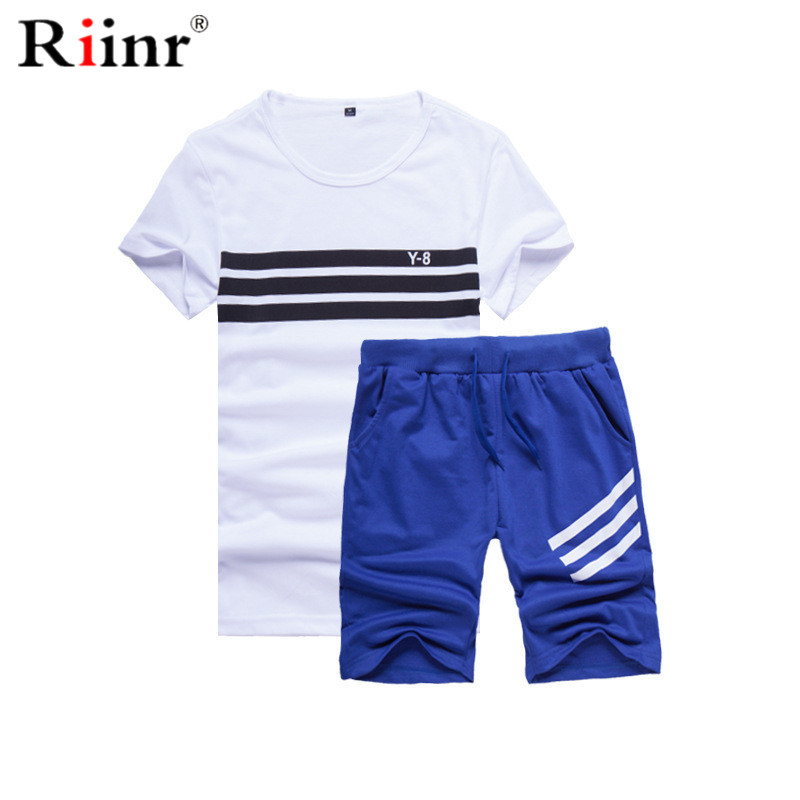 Riinr Mens Fitness Trainingsanzüge Set Sommer Männer Shorts Sets Kurzarm L Druck Shirt + Shorts Casual Outwear Männer Schweiß Anzüge