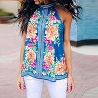 European Style Summer 2019 New Fashion Printed Sleeveless Vest Sexy Bowknot Flower Novelty T shirt