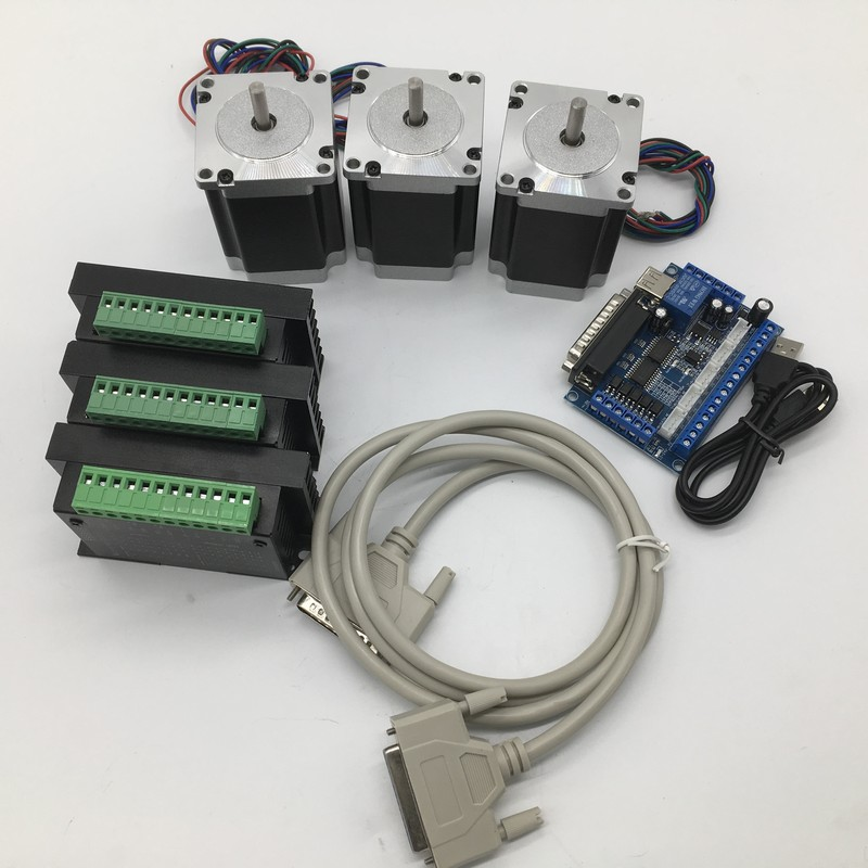 3PCS Nema23 Stepper Motor 8mm Shaft &Driver With mach3 Breakout Board kit 57*76mm 3A 1.8Nm 260Oz-in  3Axis 2ph 4 Wires  cheap3PCS Nema23 Stepper Motor 8mm Shaft &Driver With mach3 Breakout Board kit 57*76mm 3A 1.8Nm 260Oz-in  3Axis 2ph 4 Wires  cheap