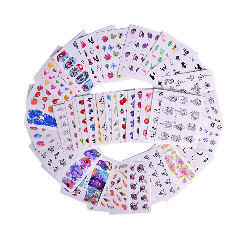 50 Sheets Nail Art Water Transfer Stickers Mixed Decals Cartoon Flower Pattern Nail Tips Decals Manicure Nails Tattoos LAM50
