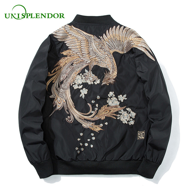 Unisplendor 2018 Spring High Street Boy Phoenix Embroidery Jacket Plus Size Men Coat Casual Outwear Hip Hop Bomber Jackets YY193