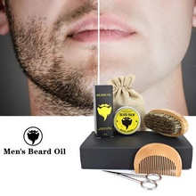 Organic Men Moustache Beard essential Oil kit beard Brush Comb Shaver Beard Cream Male Beard Care set with Storage Bag scissors