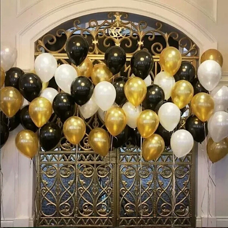 30pcs/lot 10inch 1.5g Gold Black Silver Latex Helium Balloons Wedding Birthday Baby Shower Party Decor Supplies Kids Toy globos image