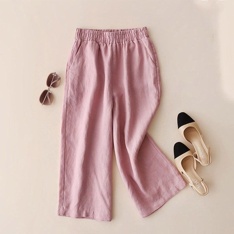Women Clothes Cotton Linen Solid color Seven Points   Wide     Leg     Pants   Female Large Size Loose Wild   Pants   Linen Thin Section