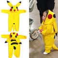 Cute Infant Cartoon Hooded Jumpsuit Pokemon Go Kids Yellow Romper Baby Cosplay Costume New Toddler Pikachu Clothes