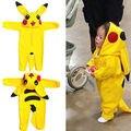 Infantil bonito Dos Desenhos Animados Pokemon Ir Amarelo Crianças Romper Do Bebê Macacão Com Capuz Cosplay Costume New Criança Roupas Pikachu