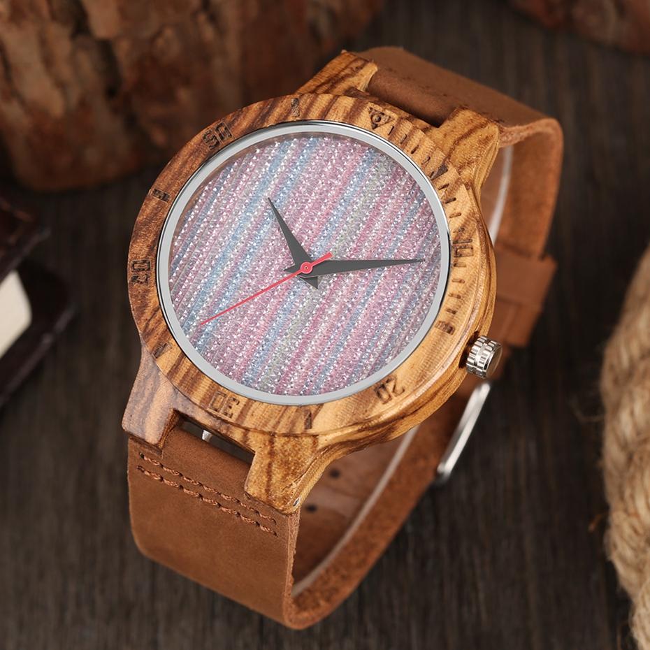 Unique Stripes Lines Dial Wooden Watch Mens Bamboo Creative Quartz Clock Genuine Leather Bangle Reloj de madera 2017 New Fashion  (21)