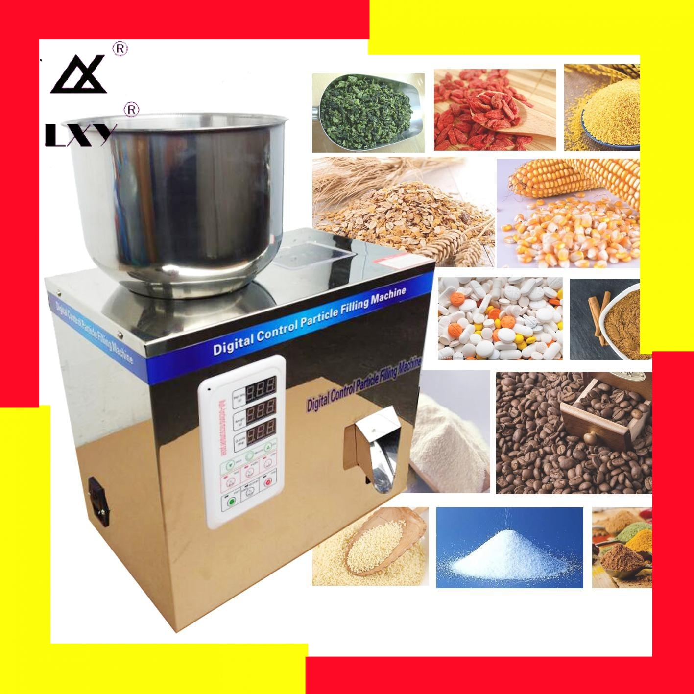 25gTea Leaf Corn Grain Medicine Seed Salt Rice Weighing And Filling Machine Niblet Sesame Racking Machine Powder Capsules Filler