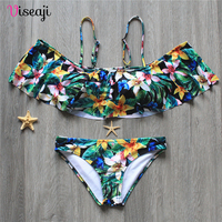 Women Swimsuit Swimwear Female Bikini 2017 New Sexy Beachwear Ruffles Print Bathing Suits Bandage Brazilian Bikinis