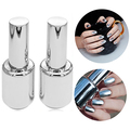 Hot! Women's Fashion 2Pcs 15ML Silver Metallic Mirror Effect Nail Polish + Top Coat