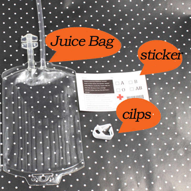 25pcs Clear Blood Juice Drink Milk Coffee red wine Coke beer Bag Halloween event Party supplies Pouch Vampires Reusable Bags