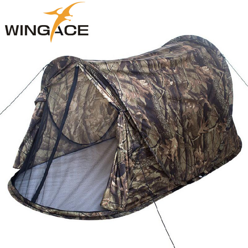 Outdoor camping Pop up tent Ultralight Portable Camouflage AutomaticTent 1 person Hunting fishing Beach Hiking tents 2kg free shipping small outdoor camping tents portable fishing mountaineering heater energy saving gas heating furnace hiking