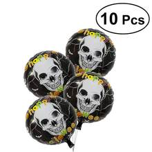 10Pcs Aluminum Foil Air Balloons Mylar Helium Skull Head Patterns AB Double-sided Round Balloons Inflatable Toys(China)