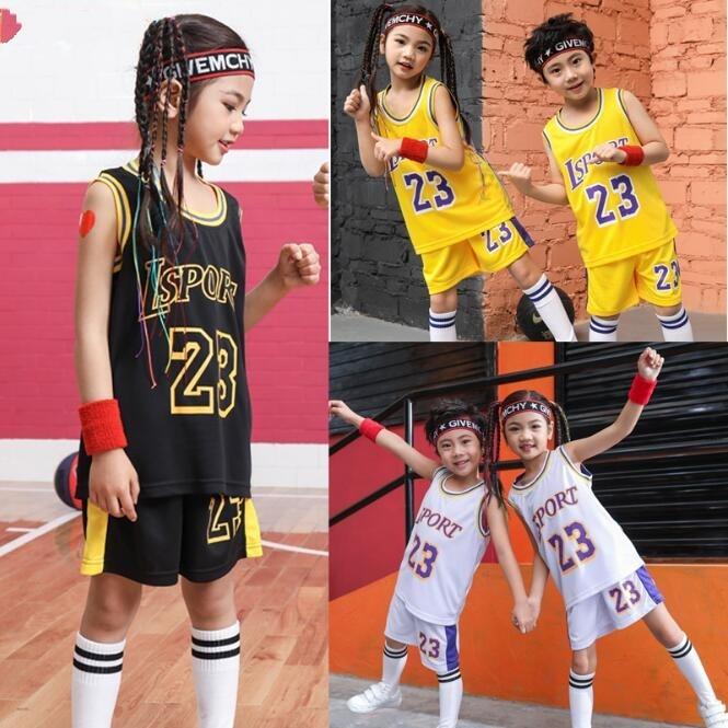 Kid LSPORT 23# Basketball Set,Girls Basketball Jersey Uniform,Breathable Child Sport Shirts Shorts,BasketBall Team Train Clothes