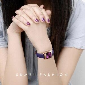 Image 3 - SKMEI レディース腕時計トップブランド高級レザークォーツ時計女性のファッションドレス腕時計女性リロイ montre ファム 2018