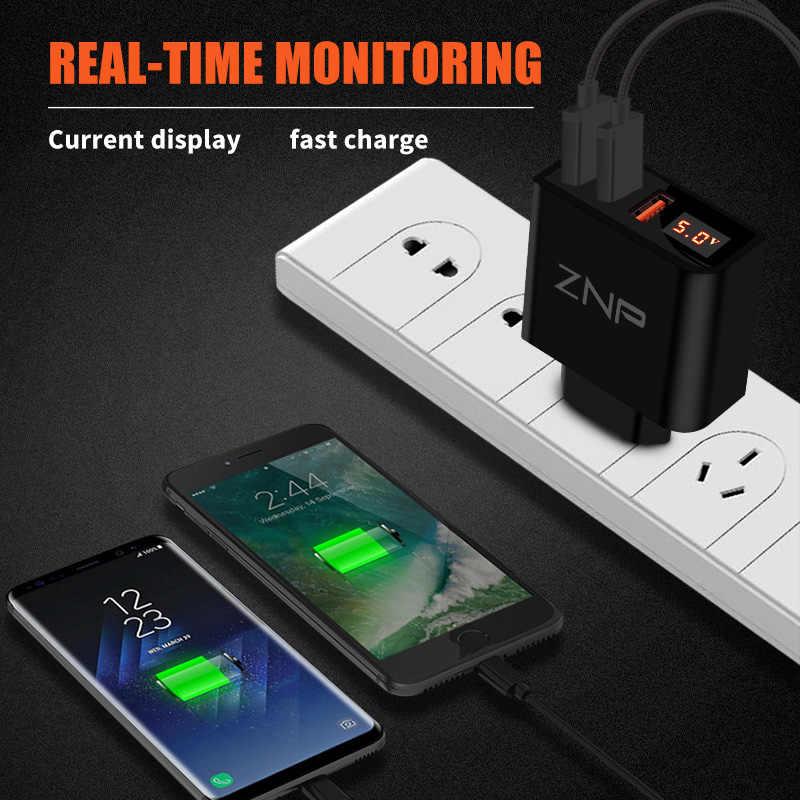 LED Tampilan 3 4 USB Pengisi Daya, znp Universal Seluler Telepon Usb Pengisi Daya Cepat Pengisian Dinding Pengisi Daya untuk Iphone Samsung Xiaomi 3.4A