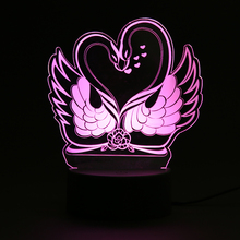 3D Effect LED Night Lamp 7 Color Swan Couple And Love Heart Flash Party Atmosphere Light for Wedding Valentine's Day Gifts