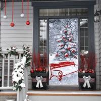 HAOCHU 2 개 3D 창조적 인 문 스티커 크리스마스 트리 눈송이 풍경 접착제 벽화 장식 포스터 방수 모조 Painti