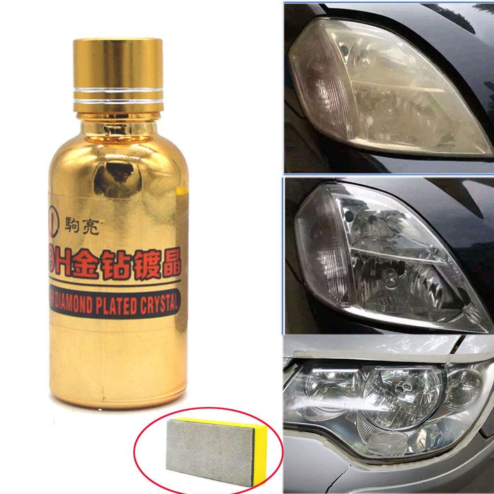 Hot Selling Gold 30ML 9H Hardness Car Paint Anti-scratch Super Hydrophobic Liquid Ceramic Coat Headlights Glass Coating+ Sponge